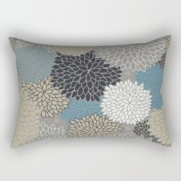 Floral Pattern Chrysanthemums Grey, Navy, Blue Rectangular Pillow