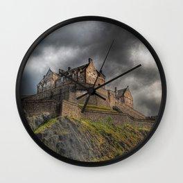 Rain Clouds Over Edinburgh Castle Wall Clock