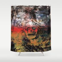 fear and loathing Shower Curtains featuring FEAR by sametsevincer