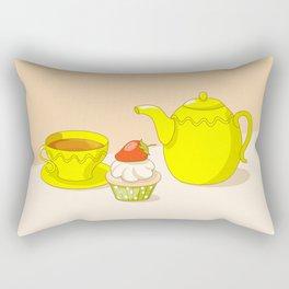 tea time with tea set and cupcake Rectangular Pillow