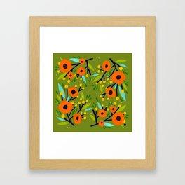 Leta Floral in Olive Green - Vintage Retro Flowers - Digital Painting Framed Art Print