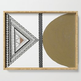 Geometric Shapes with Gold, Copper and Silver Serving Tray