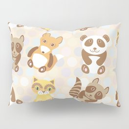 Funny cute raccoon, panda, fox, cat on dot background Pillow Sham