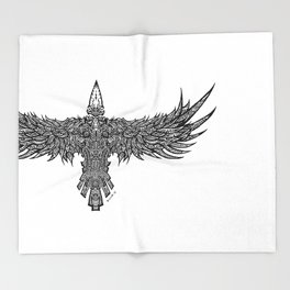 Ghost Raven Throw Blanket