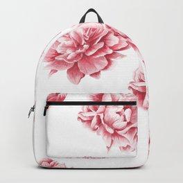 Pink Rose Garden on White Backpack
