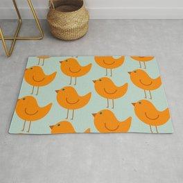 Birdies - Cute Bird Pattern in Orange, Rust, and Light Aqua Rug