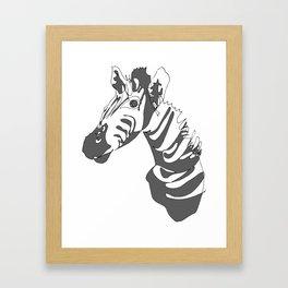 Zebra Blind Contour Framed Art Print