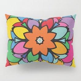 Happy Colorful Mandala Flower Ilustration Pillow Sham