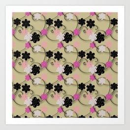 Pink White Black Flower Pattern Art Print