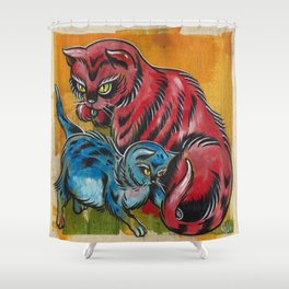 Blue and Red Cats Shower Curtain