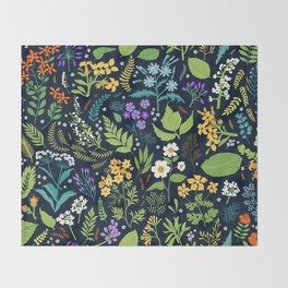Pattern with flowers. Modern floral background. Throw Blanket