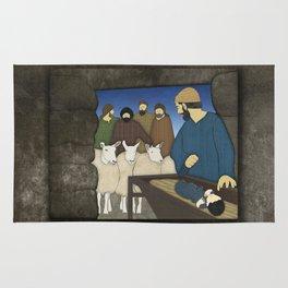 Nativity: Shepherds visit baby Jesus in the Bethlehem manger Luke 2:8-20 Rug