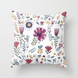 Watercolor Flowers White Throw Pillow