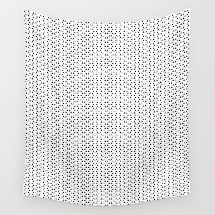 Black and White Basket Weave Shape Pattern - Graphic Design Wall Tapestry