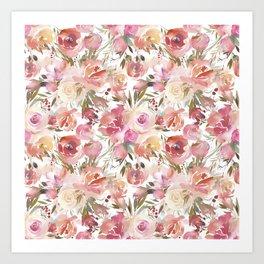 Dreamy Pastel Pink and Cream Blossom  Art Print