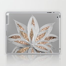 Gray Agave with Gold Glitter #1 #shiny #tropical #decor #art #society6 Laptop & iPad Skin