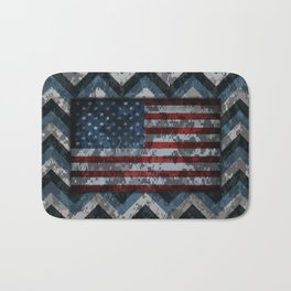 Blue Military Digital Camo Pattern with American Flag Bath Mat