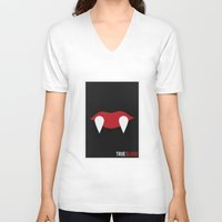 true blood V-neck T-shirts featuring True Blood - Minimalist by Marisa Passos