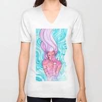 luna V-neck T-shirts featuring Luna by Verismaya