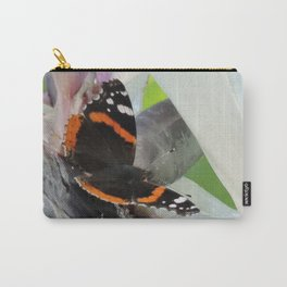 Red Admiral on a White Bird of Paradise Bloom Carry-All Pouch