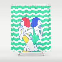 girls Shower Curtains featuring Girls by afrancesado