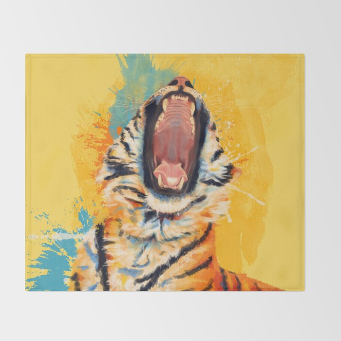 Wild Yawn - Tiger portrait Throw Blanket