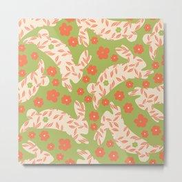 Green Orange Floral Rabbits Metal Print