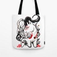 okami Tote Bags featuring Chibi Amaterasu Okami I by Rubis Firenos
