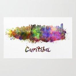 Curitiba skyline in watercolor Rug