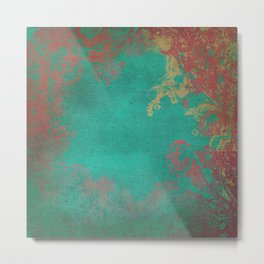 Grunge Garden Canvas Texture:  Pink and Turquoise Floral Metal Print