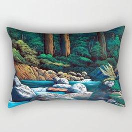 Dark green mountain stream Rectangular Pillow