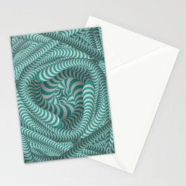 Mint green stripe illusion design Stationery Cards