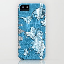 world map city skyline 10 iPhone Case
