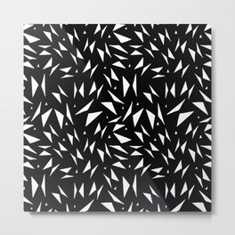Modern black white geometrical abstract triangles Metal Print