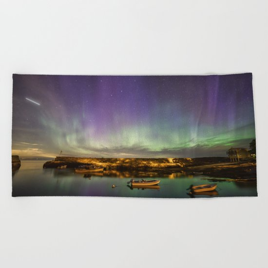 Aurora and the ISS Beach Towel