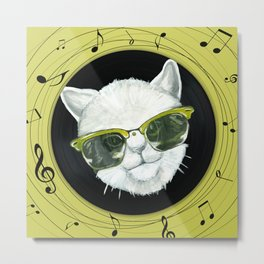 Rockstar cat on vinyl Metal Print