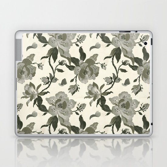 Black Magnolia Pattern Laptop & iPad Skin