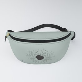 Sun Line Drawing - Black Fanny Pack