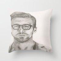 ryan gosling Throw Pillows featuring Ryan by Kristy Holding