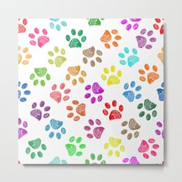Colorful vibrant colored doodle paw prints. Seamless pattern for textile design. Paw prints white background Metal Print