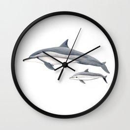 Long-beaked dolphin and baby Wall Clock