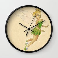 tinker bell Wall Clocks featuring Tinker bell by Joan Pons