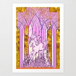 Pink & Gold  Unicorn Fantasy Abstract Art Print