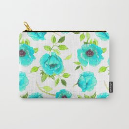 Aqua poppy Carry-All Pouch
