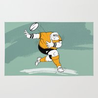 rugby Area & Throw Rugs featuring Rugby Player by drawgood