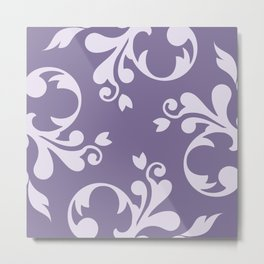 Royal Damask, Ornaments, Swirls - Purple White  Metal Print