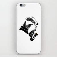 saxophone iPhone & iPod Skins featuring Badger Saxophone by mailboxdisco
