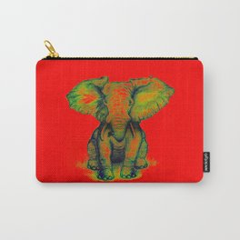 Elephant with Tiny Bird Carry-All Pouch