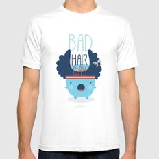 Bad Hair Day White MEDIUM Mens Fitted Tee