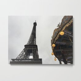 The Eiffel Tower and a carousel Metal Print